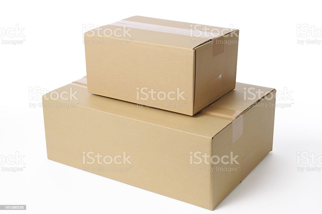 Isolated shot of stacked blank cardboard box on white background stock photo