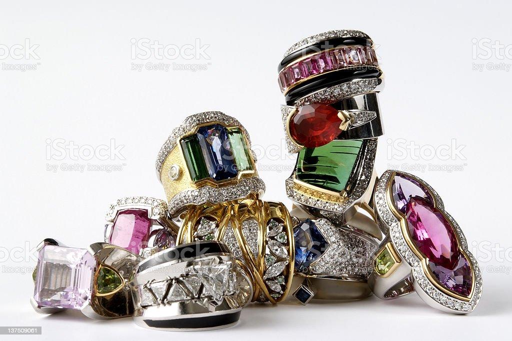 Isolated shot of stacked luxury ring on white background royalty-free stock photo