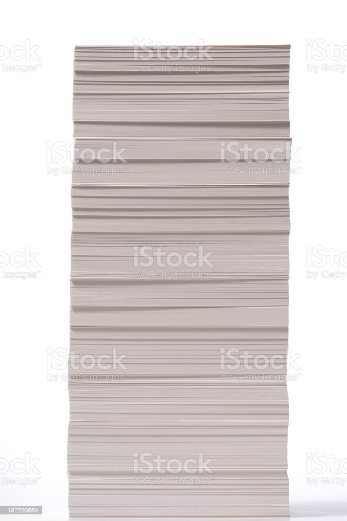 Isolated shot of stacked paper on white background royalty-free stock photo