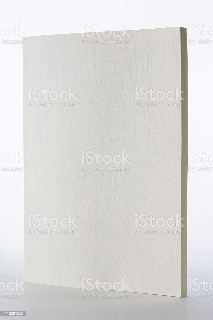 Isolated shot of standing blank book on white background royalty-free stock photo