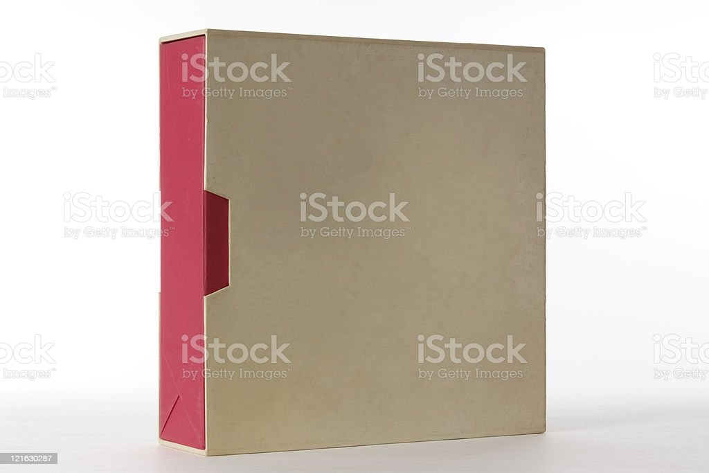 Isolated shot of standing old blank box on white background royalty-free stock photo