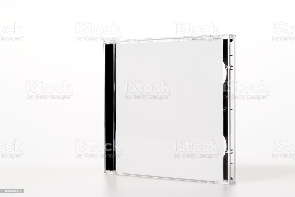 Isolated shot of standing plastic CD case on white background royalty-free stock photo