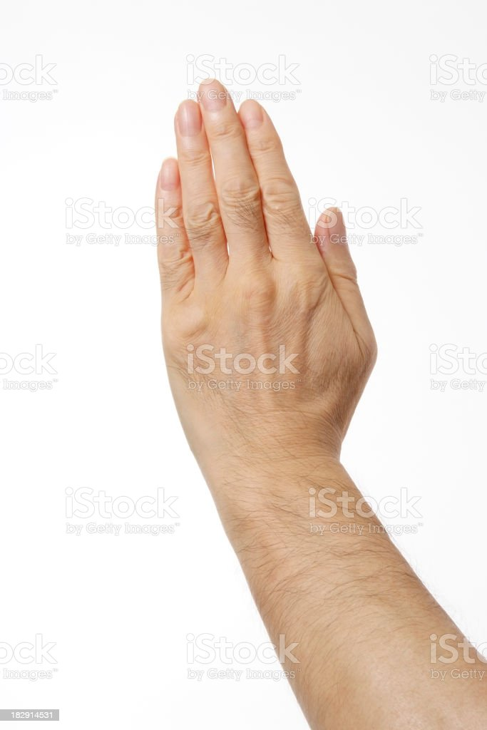 Isolated shot of Stop gesture, against white background stock photo