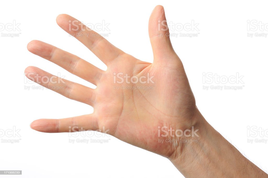 Isolated shot of the hand which opens against white background stock photo