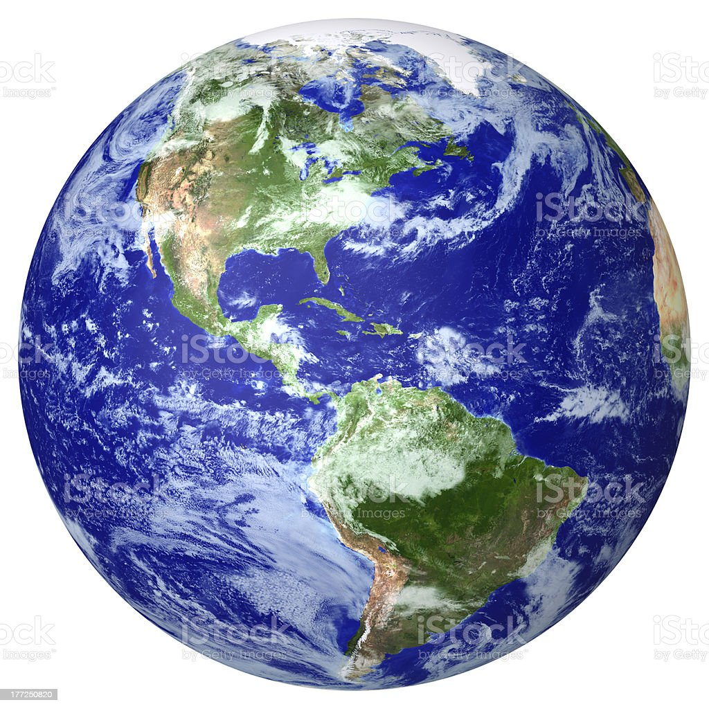 Isolated shot of the planet earth on white stock photo