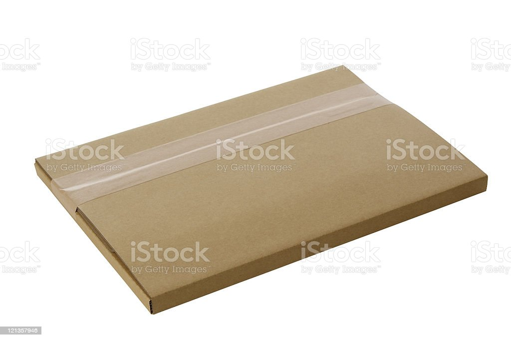 Isolated shot of thin blank cardboard box on white background stock photo