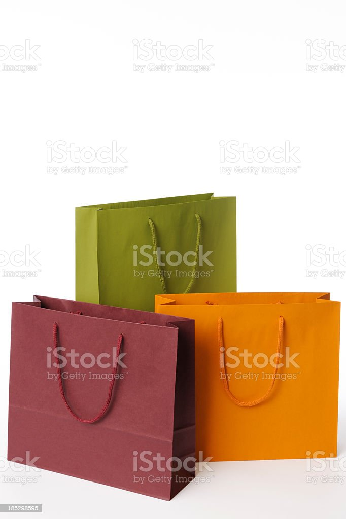 Isolated shot of three shopping bags on white background stock photo