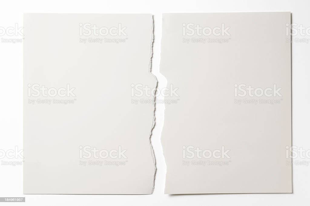Isolated shot of torn white paper on white background stock photo