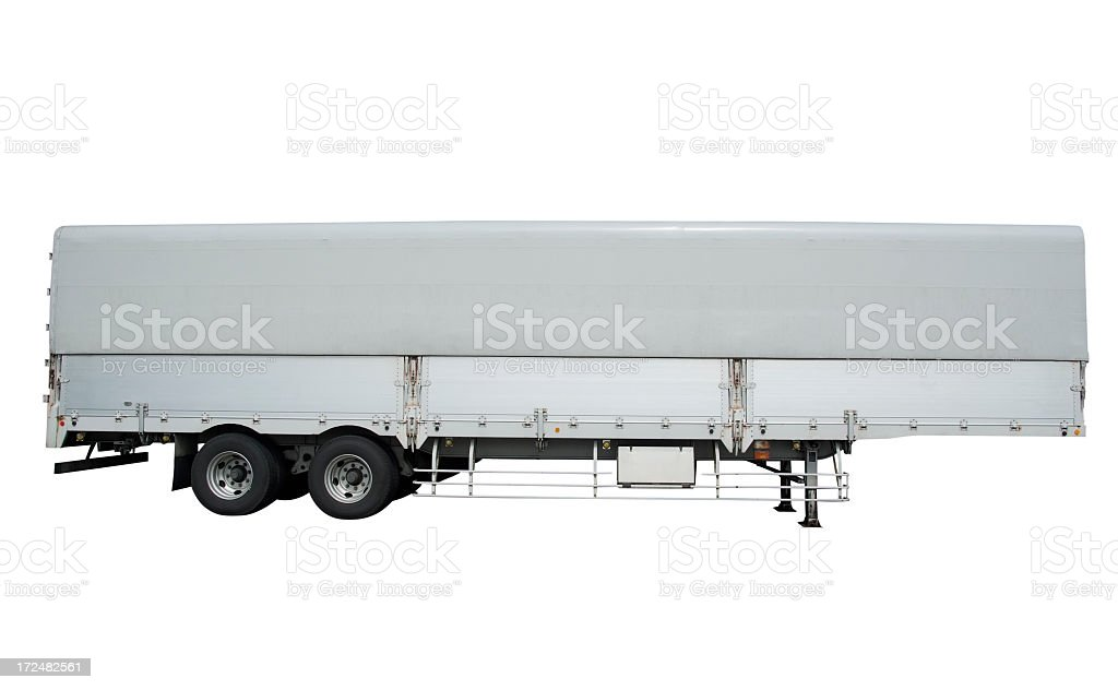 Isolated shot of truck and trailer on white background royalty-free stock photo