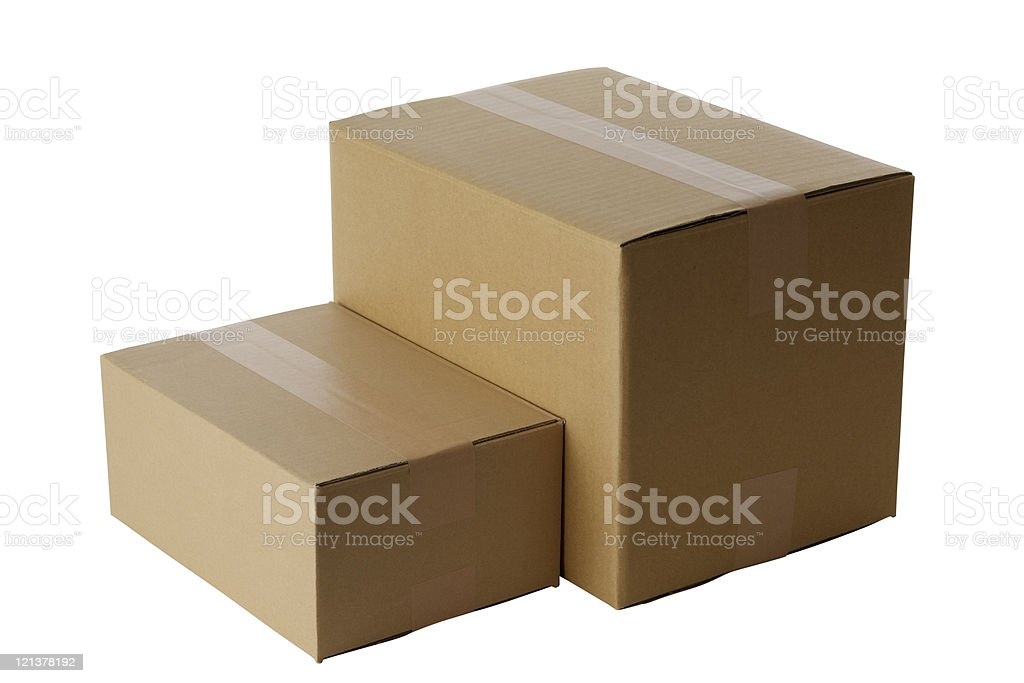 Isolated shot of two blank cardboard box on white background royalty-free stock photo
