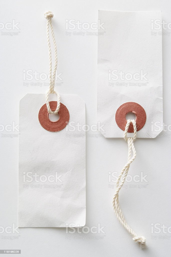 Isolated shot of two blank tag on white background royalty-free stock photo