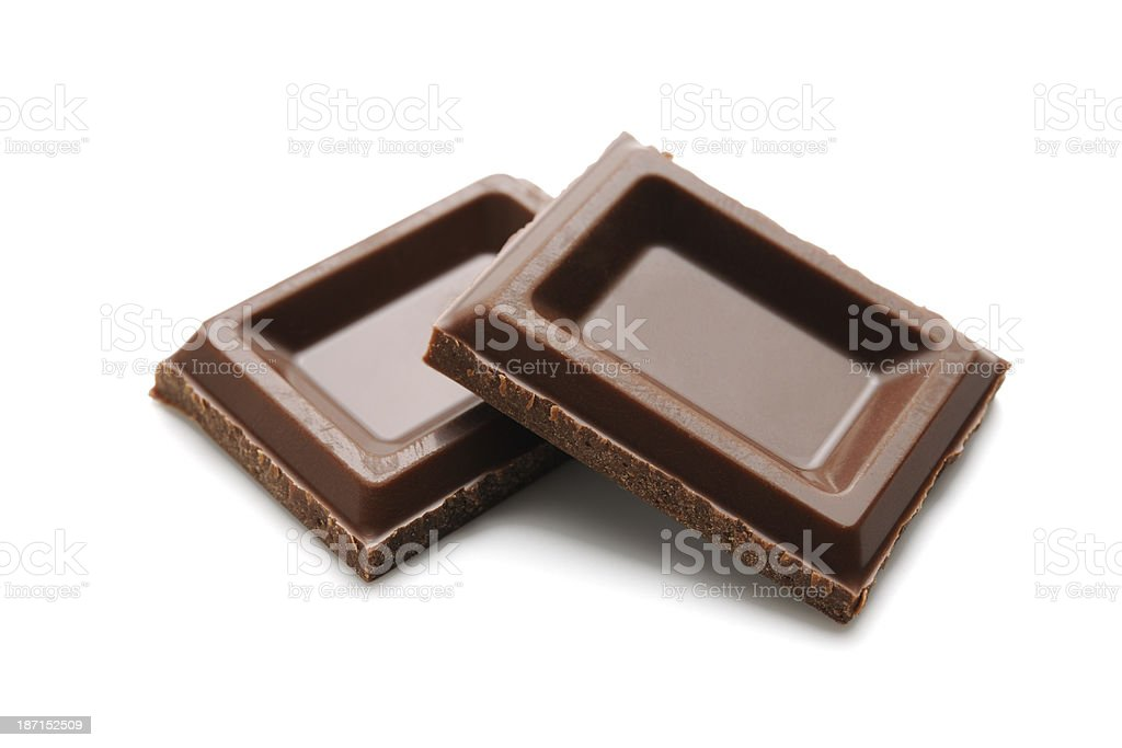 Isolated shot of two chocolate pieces on white background royalty-free stock photo