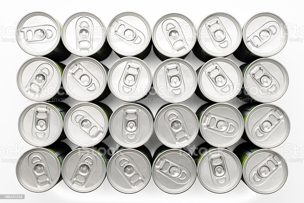 Isolated shot of two dozen beverage cans on white background royalty-free stock photo