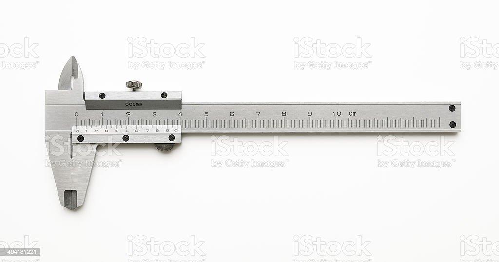 Isolated shot of vernier caliper on white background stock photo