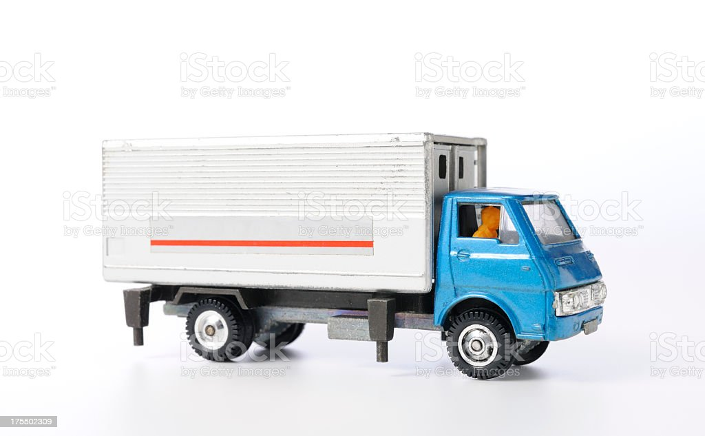 Isolated shot of vintage toy truck on white background stock photo