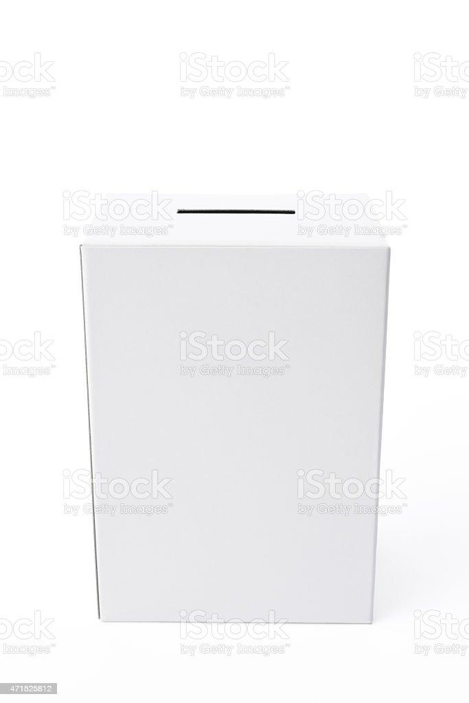 Isolated shot of white blank ballot box on white background stock photo