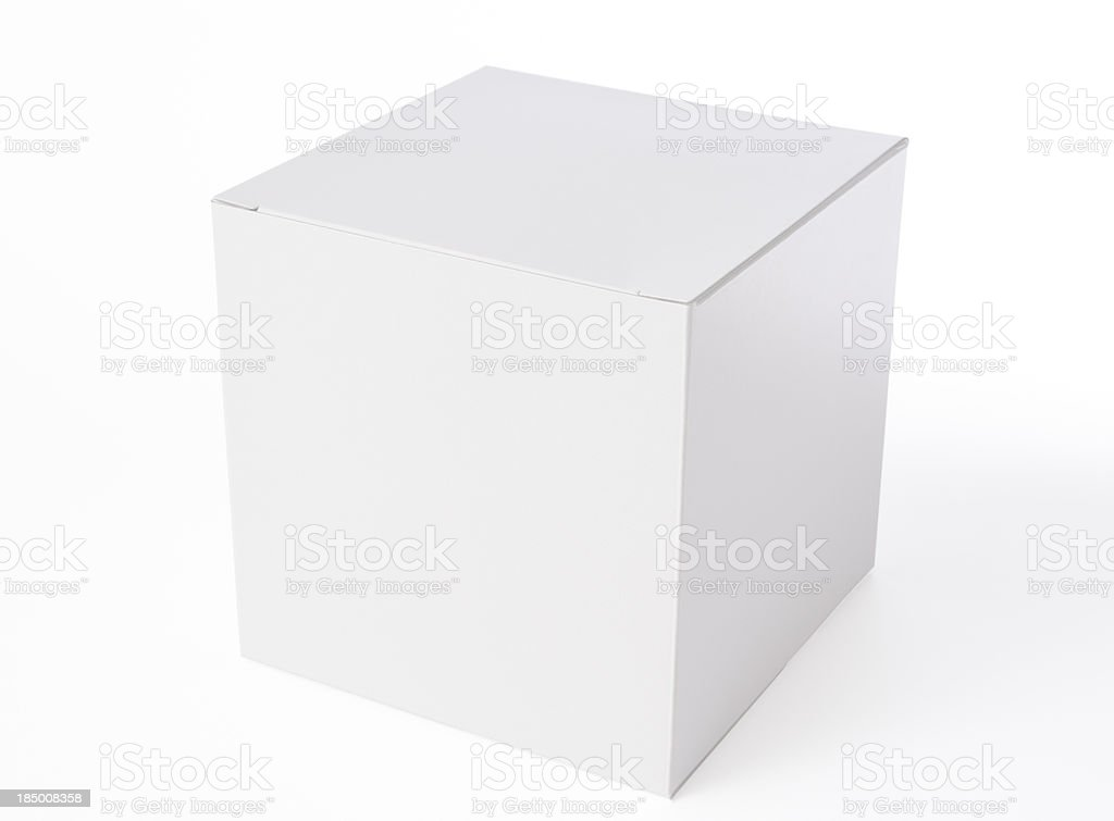 Isolated shot of white blank cube box on white background stock photo