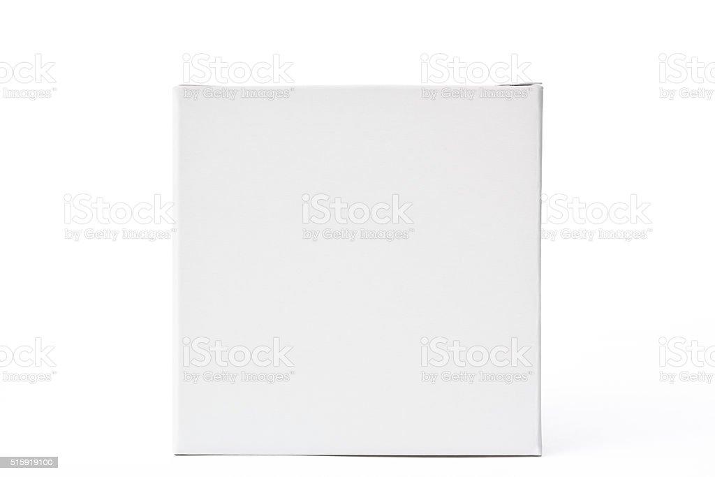 Isolated shot of white blank cube box on white background stock photo