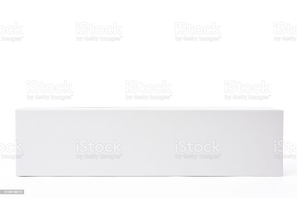 Isolated shot of white blank rectangular box on white background stock photo