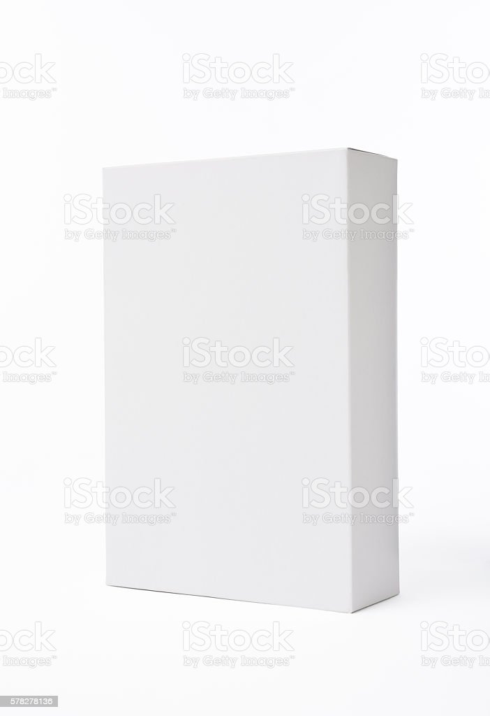 Isolated shot of white blank rectangular box on white background stock photo