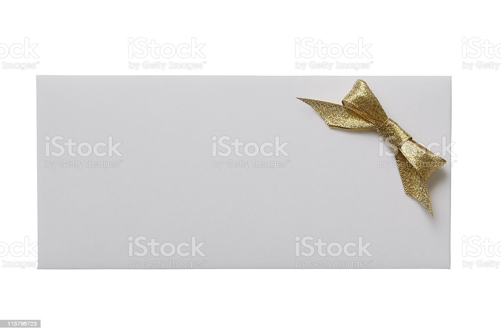 Isolated shot of white envelope with decoration on white background royalty-free stock photo