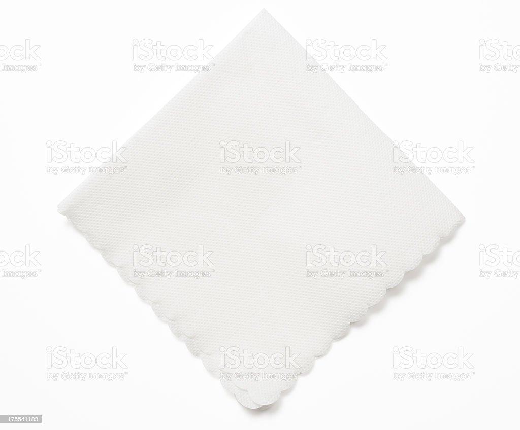 Isolated shot of white paper napkin on white background stock photo