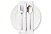 Isolated shot of white plate with cutlery on white background