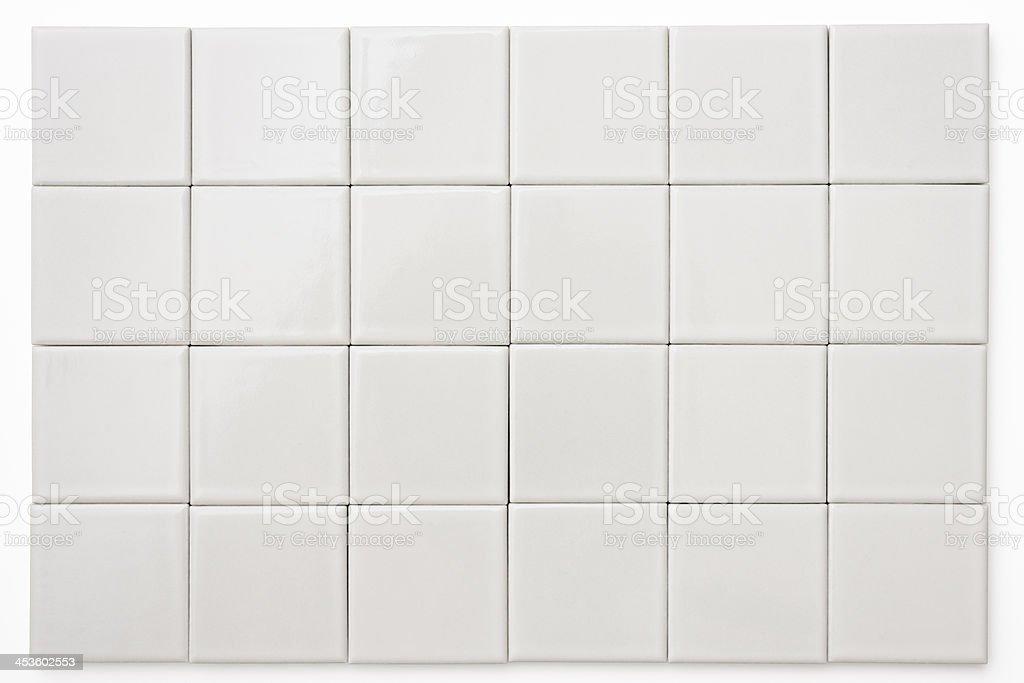 Isolated shot of white tile on white background stock photo