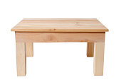 Isolated shot of wooden table on white background