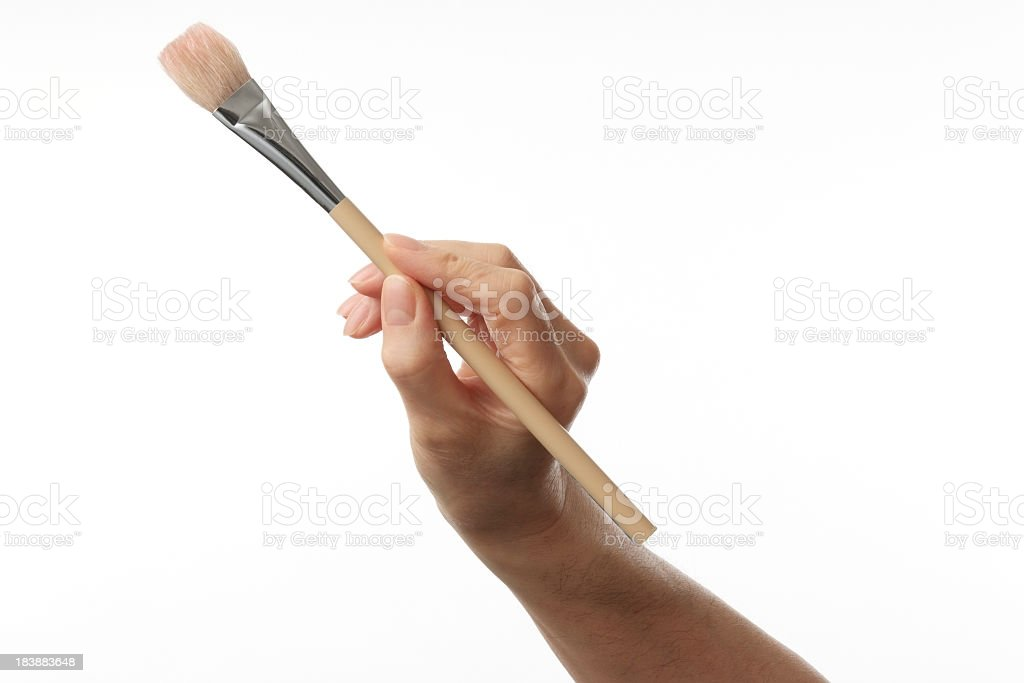 Isolated shot of working painter hand on white background stock photo
