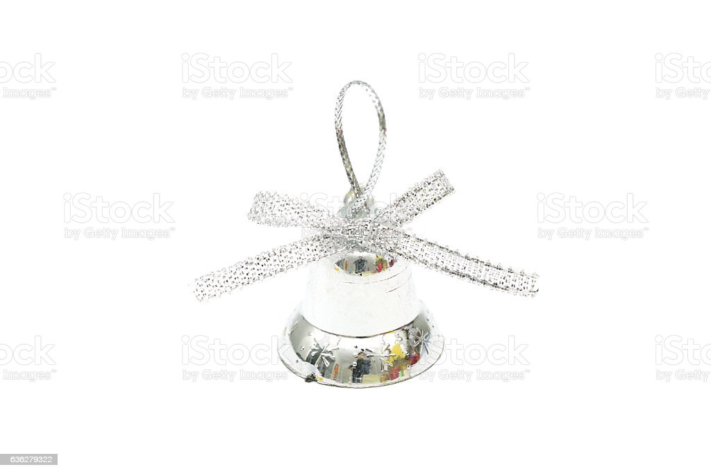 Isolated silver christmas bell toy on white background stock photo