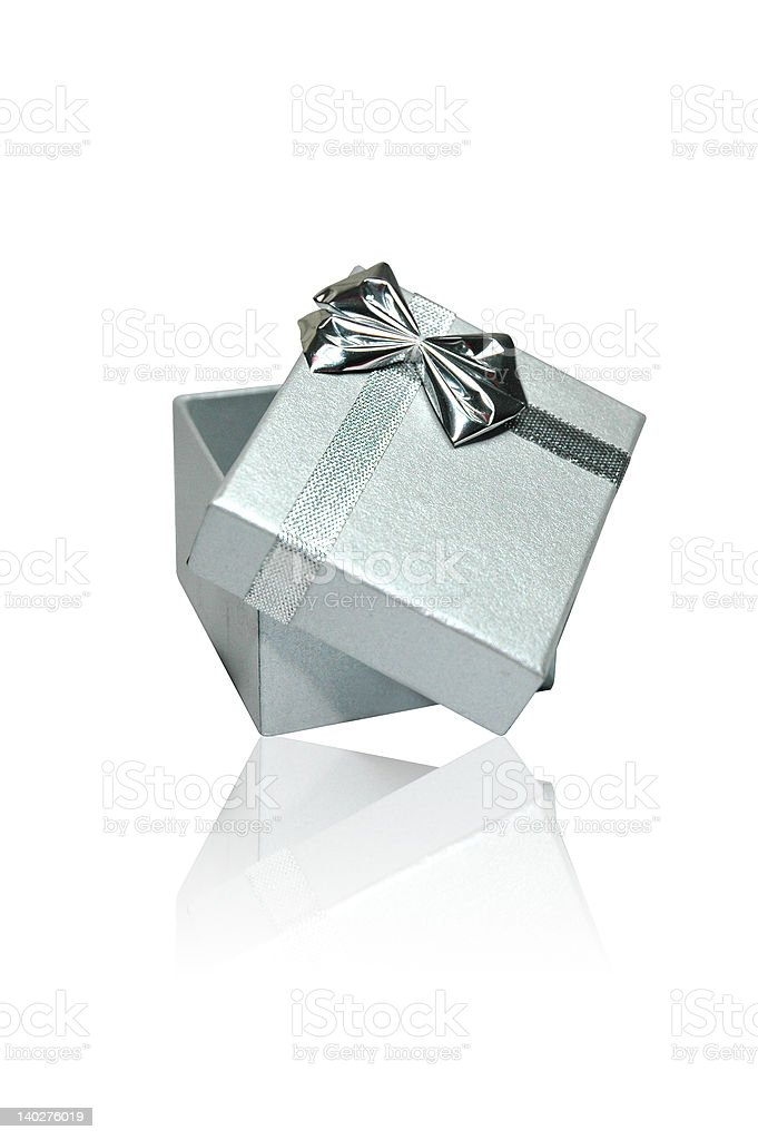 Isolated Silver Gift Box with Clipping Path royalty-free stock photo