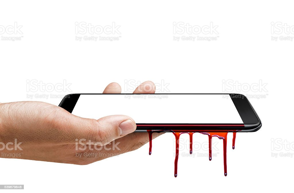 Isolated smart phone edge screen - blooding stock photo