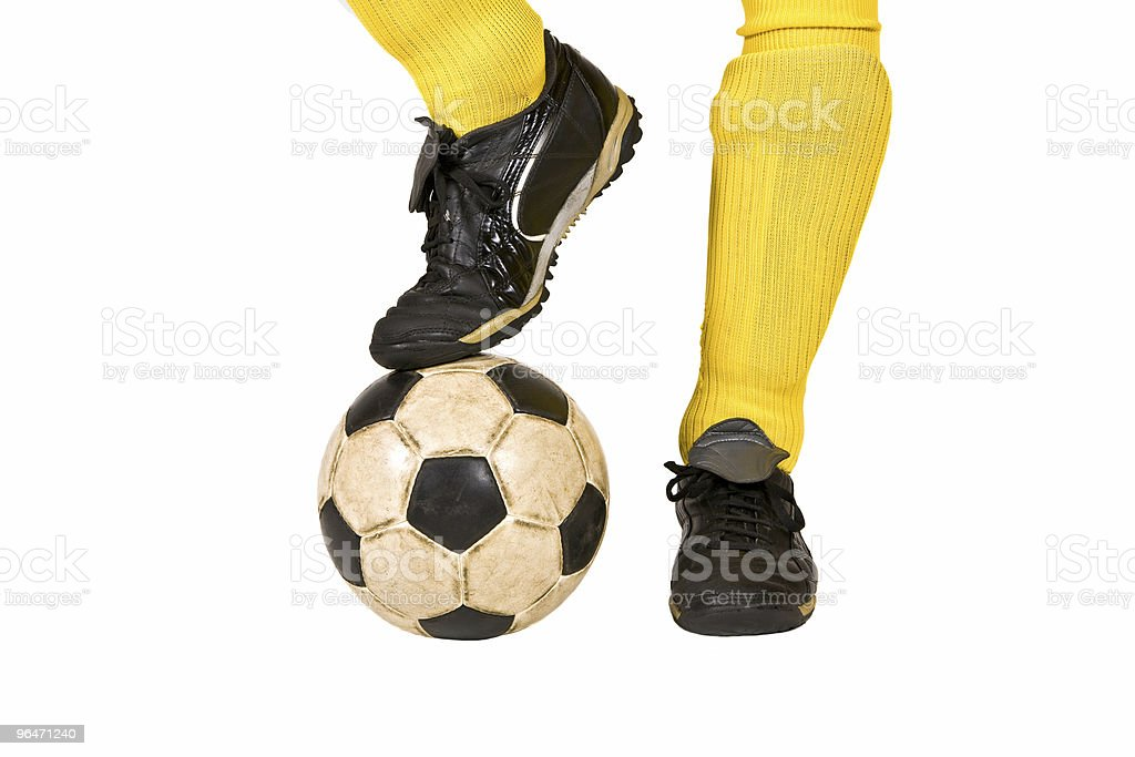 Isolated soccer ball and shoes of player stock photo