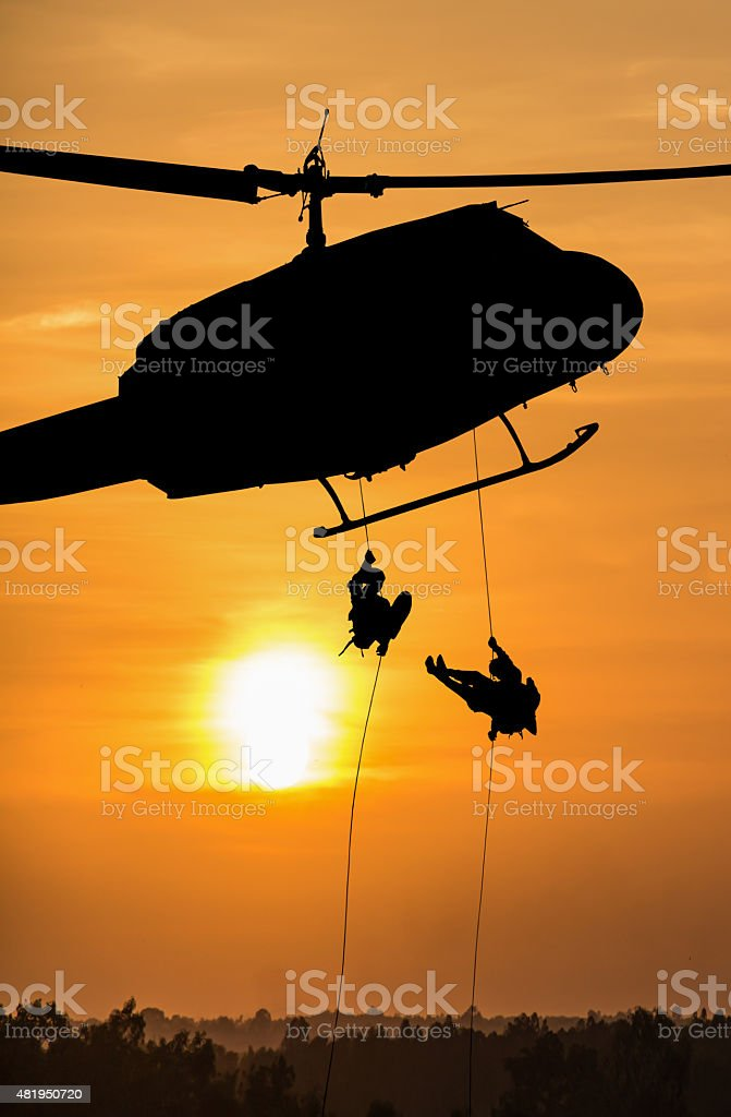 Isolated soldiers rescue helicopter operations stock photo
