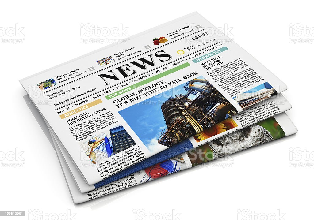 Isolated stack of newspapers on a white background stock photo