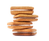 Isolated stacked cream cookies