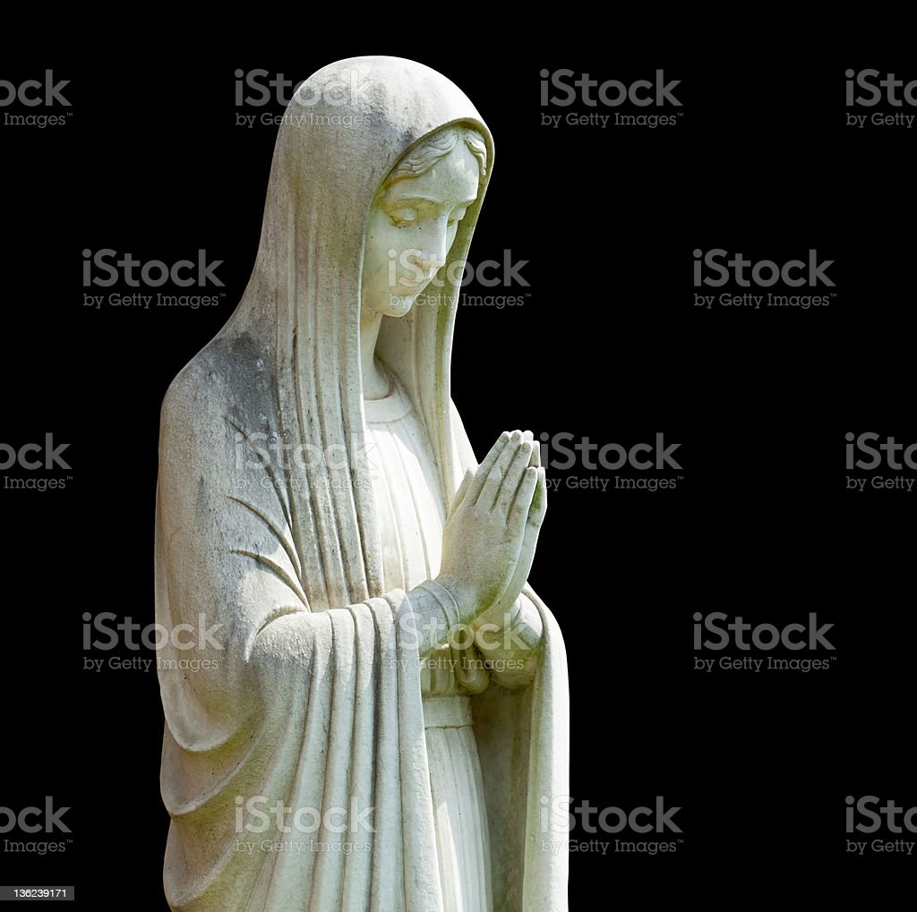 Isolated statue of Mary stock photo