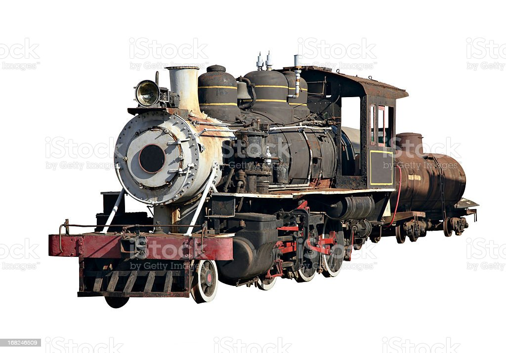 Isolated steam engine locomotive with clipping path royalty-free stock photo