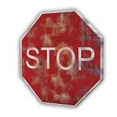 Isolated stop traffic sign