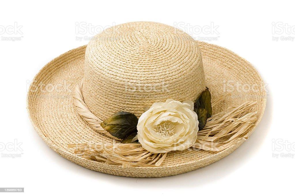 Isolated Straw sun hat stock photo
