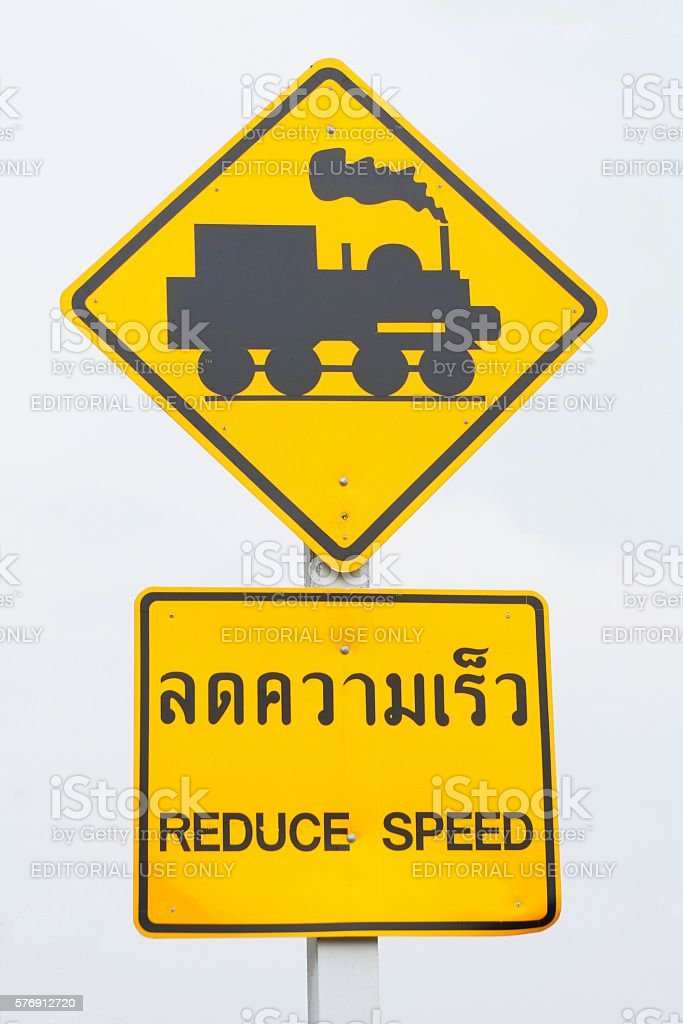 Isolated Street Sign 'Railroad Crossing' in Thailand stock photo