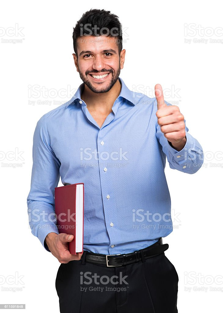 Isolated student thumbs up stock photo