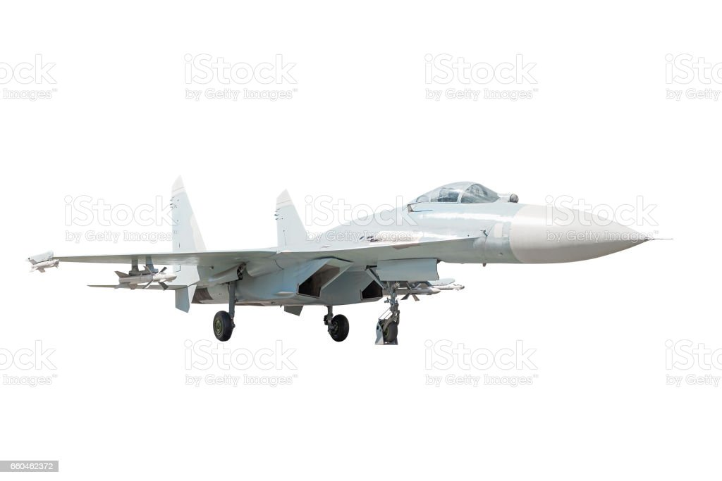 Isolated supermaneuverable fighter aircraft, back view stock photo