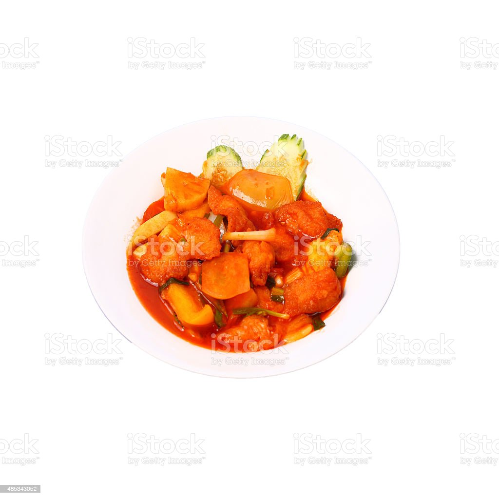 Isolated sweet and sour fish stock photo