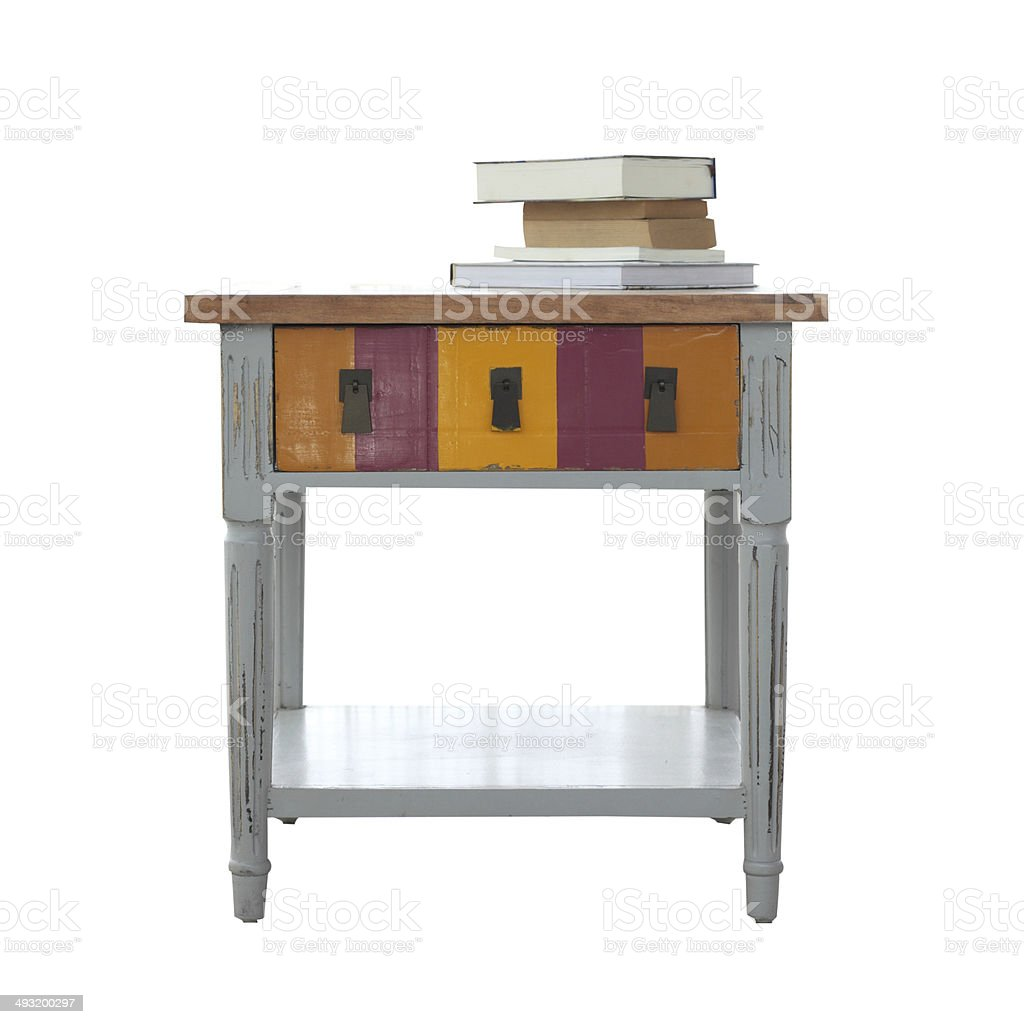 Isolated table and the book overwhite background stock photo