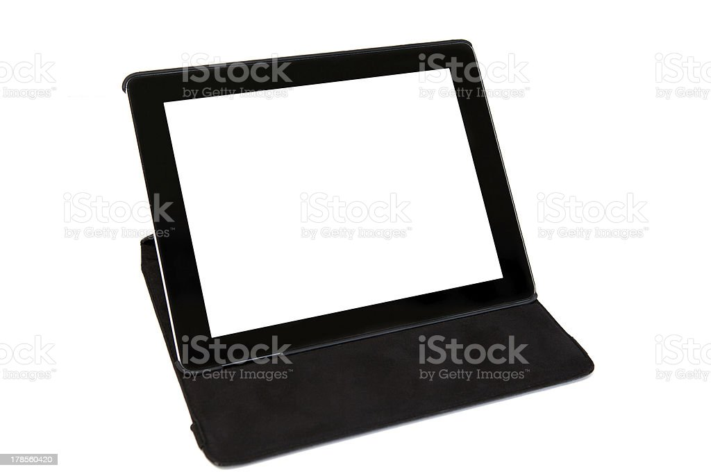 isolated tablet in black carrying case stock photo