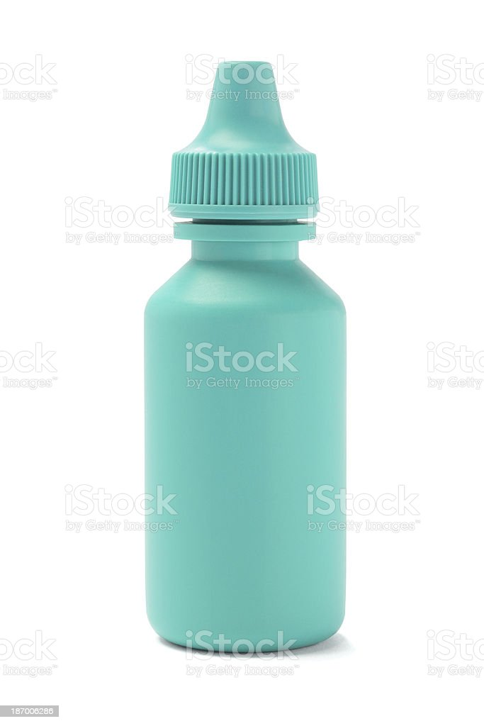 Isolated teal colored plastic bottle stock photo