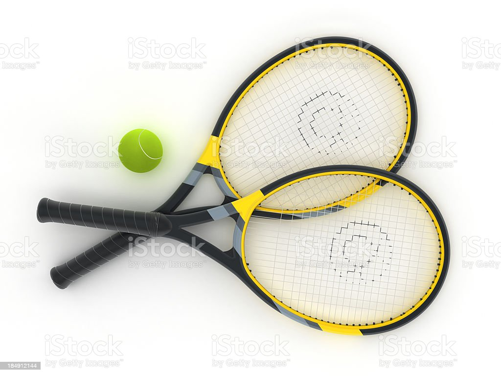 Isolated tennis rackets and ball stock photo