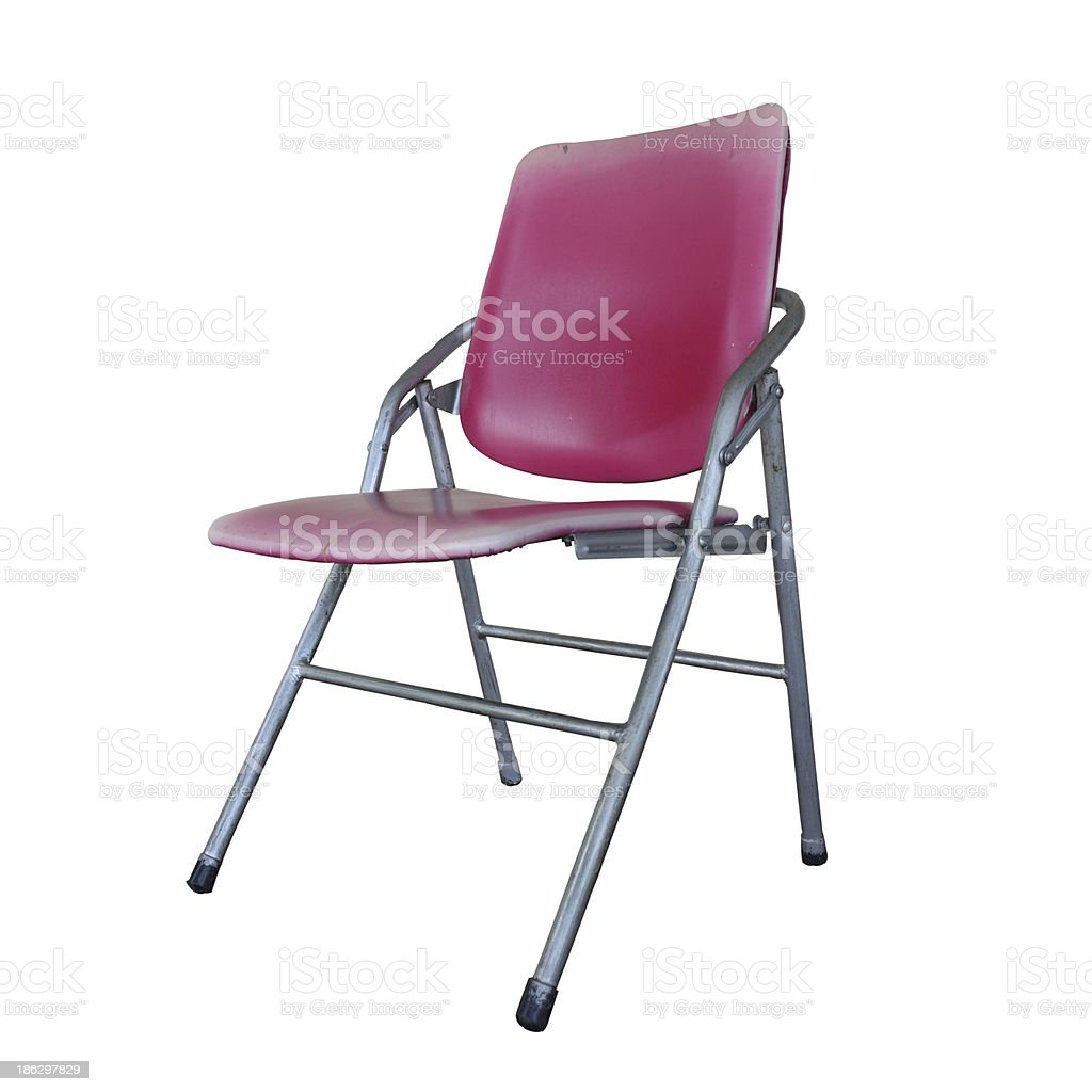 Isolated the old red chair overwhite backgroung - clipping path stock photo